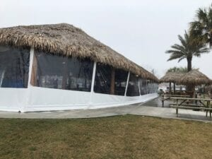 Beach Restaurant Outdoor Clear Plastic Drop Shades With Beveled Bottoms